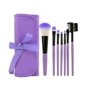 Other - 7 Piece Makeup Brush Set w/ Travel Bag - PURPLE